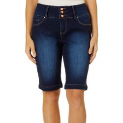 Royalty by YMI Womens Triple Button Denim Bermuda Shorts
