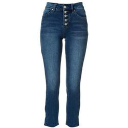 Womens Exposed Button Fly Denim Jeans