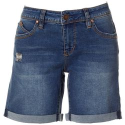Royalty by YMI Womens WannaBettaButt Denim Roll Cuff Shorts