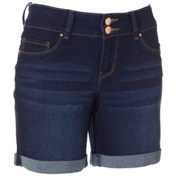 Royalty by YMI Womens Double Button Denim Roll Cuff Shorts