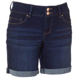 Royalty by YMI Womens Double Button Denim Roll Cuff Shorts