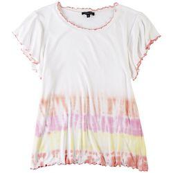 Knit& Cast Womens Tye Dye Textured Short Sleeve Top