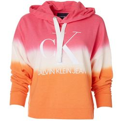 Calvin Klein Womens Ombre Cropped Logo Hoodie