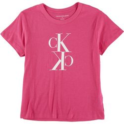Calvin Klein Womens Screen Print Scoop Neck T-Shirt