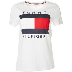 Tommy Hilfiger Womens Big Flag Short Sleeve Top