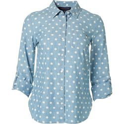 Tommy Hilfiger Womens Dots Button Down Roll Tab Top