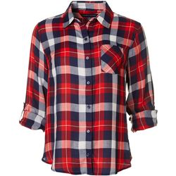 Tommy Hilfiger Womens Plaid Button Down Roll Tab Top