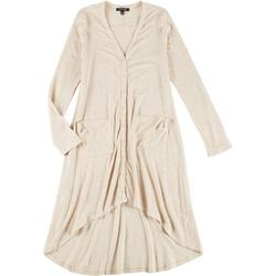 Womens Solid Long Sleeve Button Down Dress