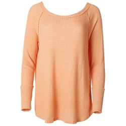 Womens Solid Waffle Knit Sweater