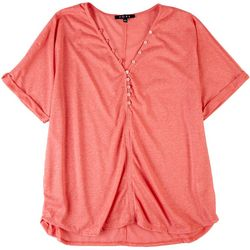 Fore Womens Casual Solid Top With Buttons