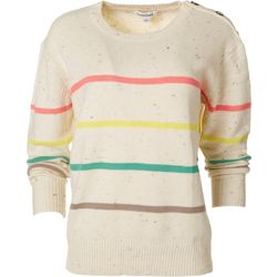 Dave & Dani Womens Confetti Striped Sweater