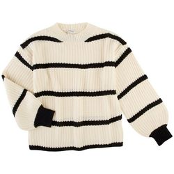 Davi & Dani Womens Striped Crew Neck Pullover Sweater