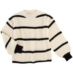 Womens Striped Crew Neck Pullover Sweater