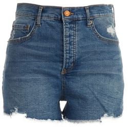 Jessica Simpson Womens Dark Denim Frayed Hem Shorts