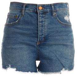 Womens Dark Denim Frayed Hem Shorts