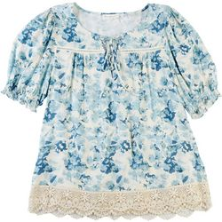 Love & Promises Womens Woven Floral Slub Top