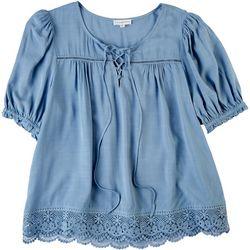 Love & Promises Womens Crochet Short Sleeve Shirt