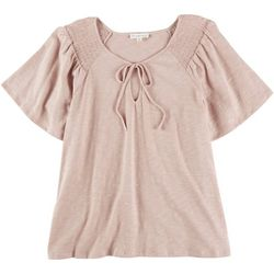Love & Promises Womens Peasant Smocked Short Sleeve Shirt