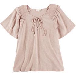 Womens Peasant Smocked Short Sleeve Shirt