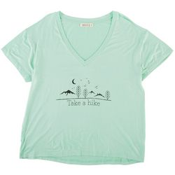 Wanderlux Womens Take A Hike Solid Graphic V-Neck Tee