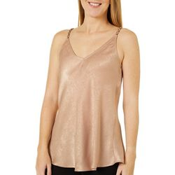 Wanderlux Womens Solid Satin V-Neck Sleeveless Top