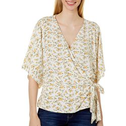 Womens Floral Surplice Short Sleeve Top