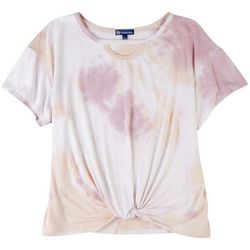Democracy Womens Tye Dye Tee With Front Knot Top