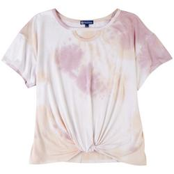 Womens Tye Dye Tee With Front Knot Top
