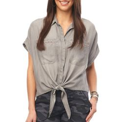 Democracy Womens Solid Button Down Tie Front Top