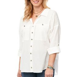 Democracy Womens Solid Ribbed Knit Button Down Top