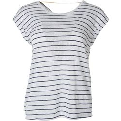 Democracy Womens Striped Back Twist Short Sleeve Top