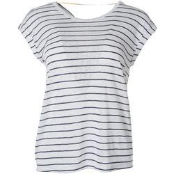 Womens Striped Back Twist Short Sleeve Top