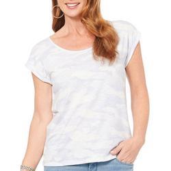 Womens Camo Print  Short Sleeve Top