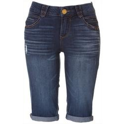 Womens Roll Cuff Denim Bermuda Shorts