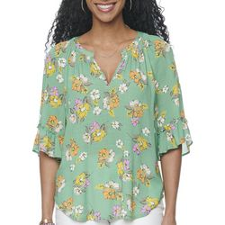 Democracy Womens Floral Printed Short Sleeve Top