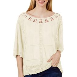 Democracy Womens Solid Crochet Trim Cropped Top