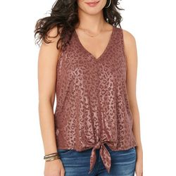 Democracy Womens Solid Tank Top With Tie Front