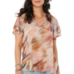 Democracy Womens Striped Printed Flutter Sleeve Top
