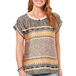 Democracy Womens Leopard Geometric Short Sleeve Top