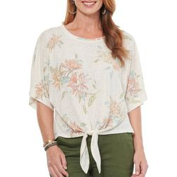 Democracy Womens Floral Dolman Sleeve Tie Front Top