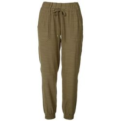 Democracy Womens Solid Linen Jogger Pants
