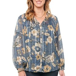 Democracy Womens Floral Print Long Sleeve Blouson Top