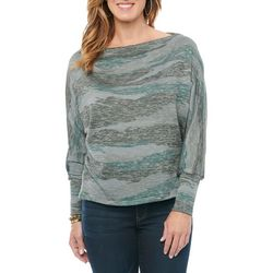 Democracy Womens Marble Stripe Boat Neck Long Sleeve