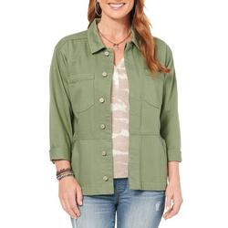 Womens Solid Drop Shoulder Jacket