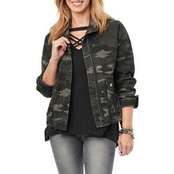 Democracy Womens Camo Zippered Jacket