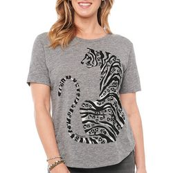Democracy Womens Heathered Tiger Print Top