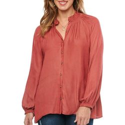 Democracy Womens Woven Smock Neck Blouson Top