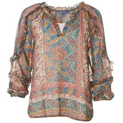 Democracy Womens Ruffled Floral Blouson Long Sleeve Top