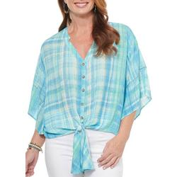 Womens Front Tie Deep V-Neck Striped Top