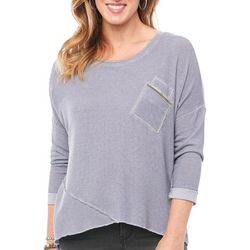 Democracy Womens Heathered Pocket Roll Cuff Sleeve Top